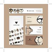 Business cards design with bikini collection