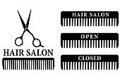open and closed hair salon sign