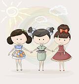 Three happy girl friends