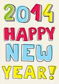 Happy New Year 2014 vector wishes