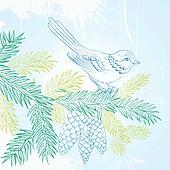 Bird on christmas fir and pinecone.