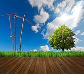 Farming Landscape and Wood Floor
