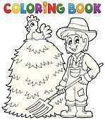 Coloring book farmer theme 1