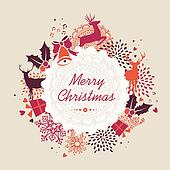 Merry Christmas label retro composition vector file.