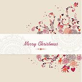 Christmas text, vintage elements abstract composition.