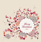 Merry Christmas label text, retro elements vector file.