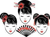 Three portraits of Asian girls