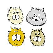 Cat and dogs faces, sketch for your design
