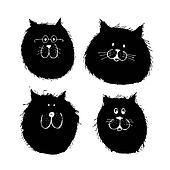 Cat and dogs faces silhouette, sketch for your design