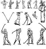 Vector Clipart Vintage Golf Set