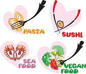 Set of Food Icons in hearts shapes: Japanese Cuisine - Sushi, It