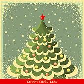 Vintage Christmas background with tree
