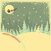 Vintage Christmas background with text on night landscape