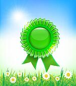 Natural green badge on grass background