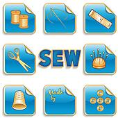 Sewing Stickers, Blue Background