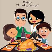 family in thanksgiving day