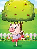 A female pig playing at the yard near the big tree