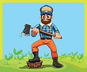 An old lumberjack holding an axe while stepping at the stump