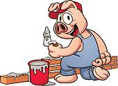 Construction worker pig