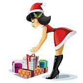 Pin Up Christmas Girl - Vector Cart
