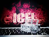 ice cubes on computer keyboard