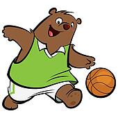 Cartoon bear basketball player