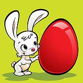 Cartoon cute bunny with a huge easter egg
