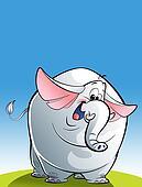 Cartoon happy white elephant