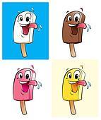 Happy cartoon character ice creams