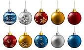 colorful christmas balls hanging on a white background