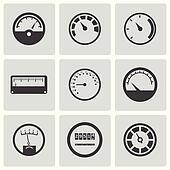 Vector black meter icons set