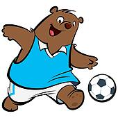 Cartoon bear football player