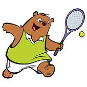 Cartoon happy bear playing tennis