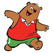 Cartoon happy bear playing and running