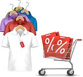 Clothes hanger with shirts with price tag. Concept of discount shopping. Vector.
