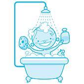 Happy cartoon baby kid in bath tub Blue version
