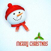 Snowman wearing scarf in Christmas Card