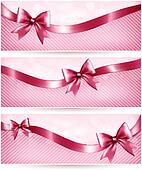 Three pink holiday banners with gift glossy bow and ribbon. Vector