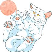 vector cute white cat playing with a ball of yarn