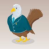 Cute cartoon bird in jacket