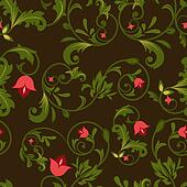 Dark floral seamless background with red flower buds.