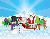 Santa on Reindeer Sleigh With Snow Scene
