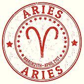 Aries zodiac grunge stamp