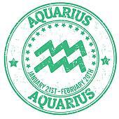 Aquarius zodiac grunge stamp
