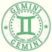 Gemini zodiac grunge stamp