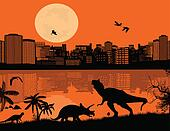Dinosaurs Silhouettes in front a city scape