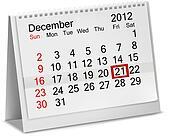 Desktop calendar  2012- December. Vector illustration.
