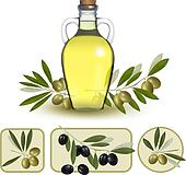 Bottle of oil with green olives and olive oil labels. Vector ill