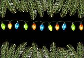 Christmas background with colorful harland and fir branches. Vec