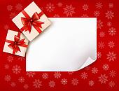 Christmas background with gift boxes and red bow. Vector illustr